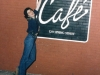 Gretchen Schaefer outside the Woodfords Cafe, which, oddly enough, was on Spring Street, nowhere near Woodford\'s Corner. This diner was the last stop for our Monday Night Boozeness meetings in 1985.