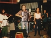 The Cowlix front line during the 1992 opening gig for the Moxie Men at Norton's in Kittery. From left, Melinda McCardell, Doug Hubley, Marcia Goldenberg, Gretchen Schaefer. Not visible is drummer Jonathan Nichols-Pethick. Photo by Jeff Stanton.