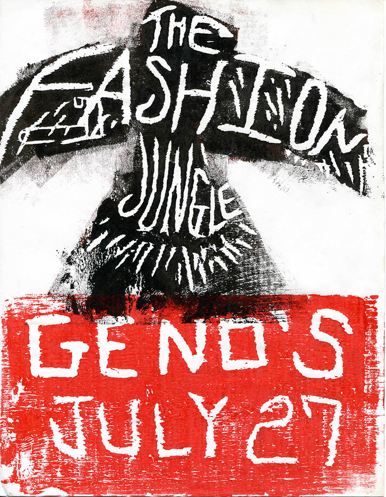A poster by Gretchen Schaefer depicts the FJ rising from the ashes for a Geno's gig.