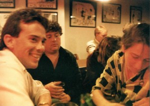 A Monday Night Boozeness meeting at Three Dollar Dewey's, 1985. From left, Ken Reynolds, Chris Bruni, two unknown subjects, Kathren Torraca.