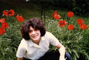 Gretchen in the garden at 506 Preble St. Hubley Archives.
