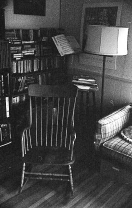 The living room at 506 Preble St., South Portland. The music stand holds a Palmer-Hughes accordion instruction book. Digital scan from black & white negative/Hubley Archives.