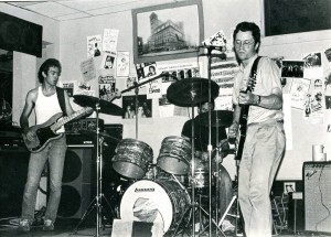 The Fashion Jungle at the Tree Cafe, 1987 or 1988. From left: Steve Chapman, drummer Ken Reynolds, Doug Hubley. Photograph by Jeff Stanton.