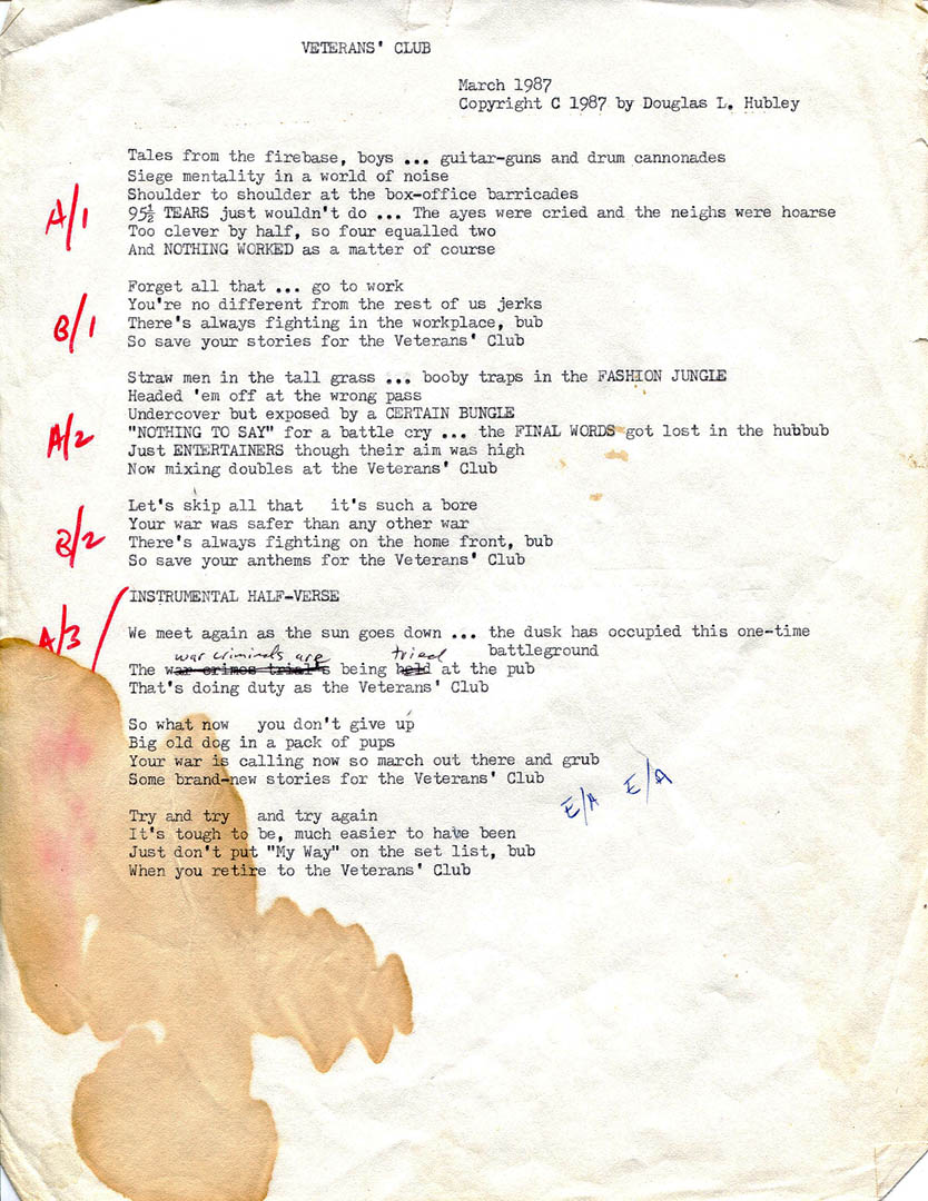 "Complete with coffee stain, the lyrics to ""Veterans' Club."" Hubley Archives."