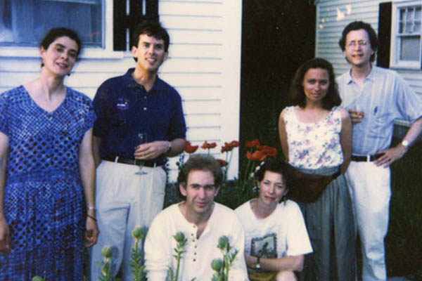 Current and former Cowlix, 1993. From left: Gretchen Schaefer, Ken Reynolds, Steve Chapman, Jeri Chapman, Marcia Goldenberg, Doug Hubley. Jeff Stanton photo.