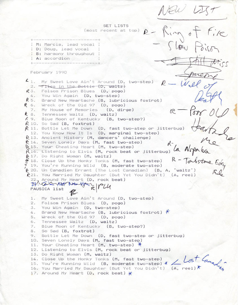 An early Cowlix songlist. Hubley Archives.