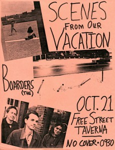 Our poster for that October 1995 Taverna date. The third image from the top shows the fence at Gretchen's and my house after a motorist flattened it. I propped it back up and the insurance money paid for a trip to Montreal. Hubley Archives.