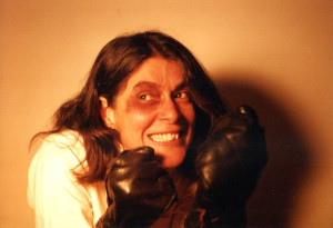 Gretchen in an outtake from the 1998 boxing-poster photo session. Hubley Archives.