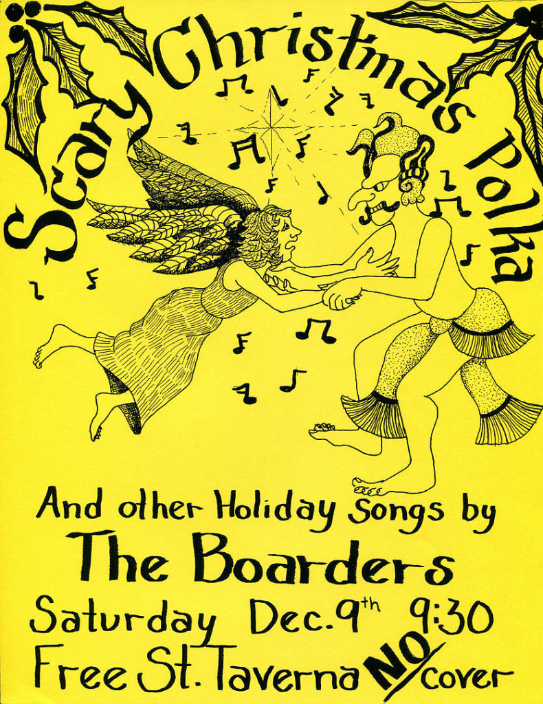 The Boarders' multi-talented bassist, Gretchen Schaefer, created the poster for this 1995 gig. Hubley Archives.