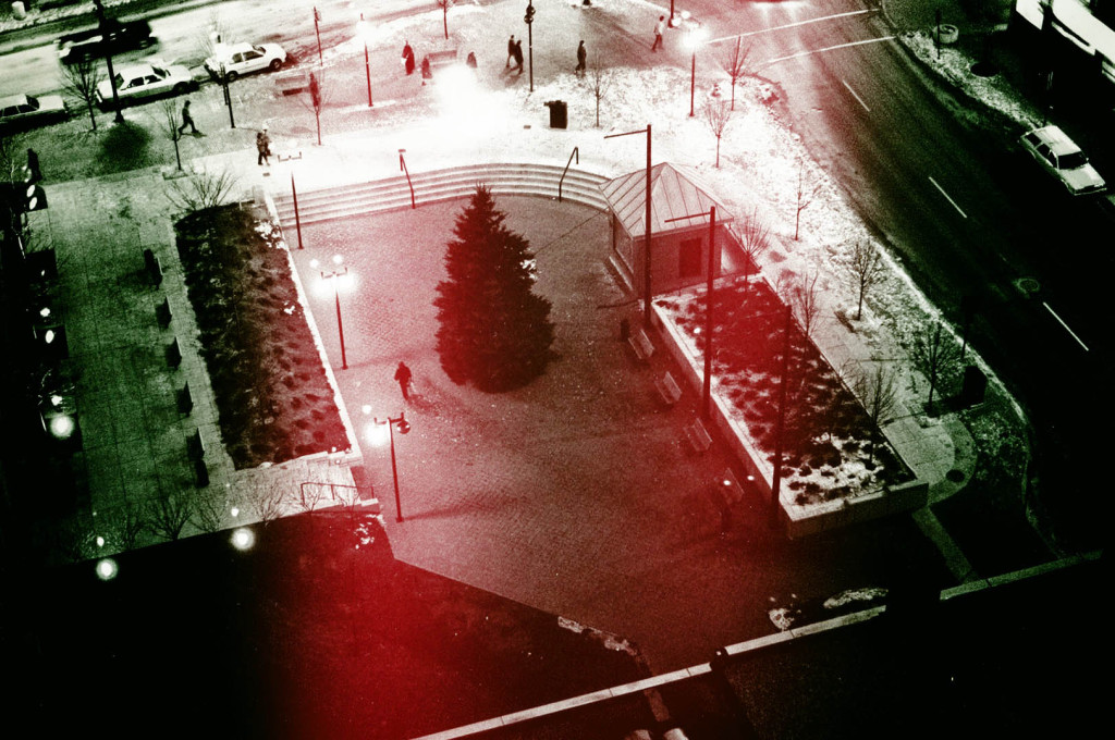 A digitally manipulated view of Congress Square Plaza in Portland, Maine, from the Top of the East in December 1984. Hubley Archives.