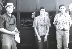 The end of a long hot afternoon: the Howling Turbines back at the rehearsal hall after a 90 F gig at the Free Street Taverna in August 1999. From left: Doug Hubley, Gretchen Schaefer, Ken Reynolds, Alden Bodwell. Photo by Jeff Stanton.