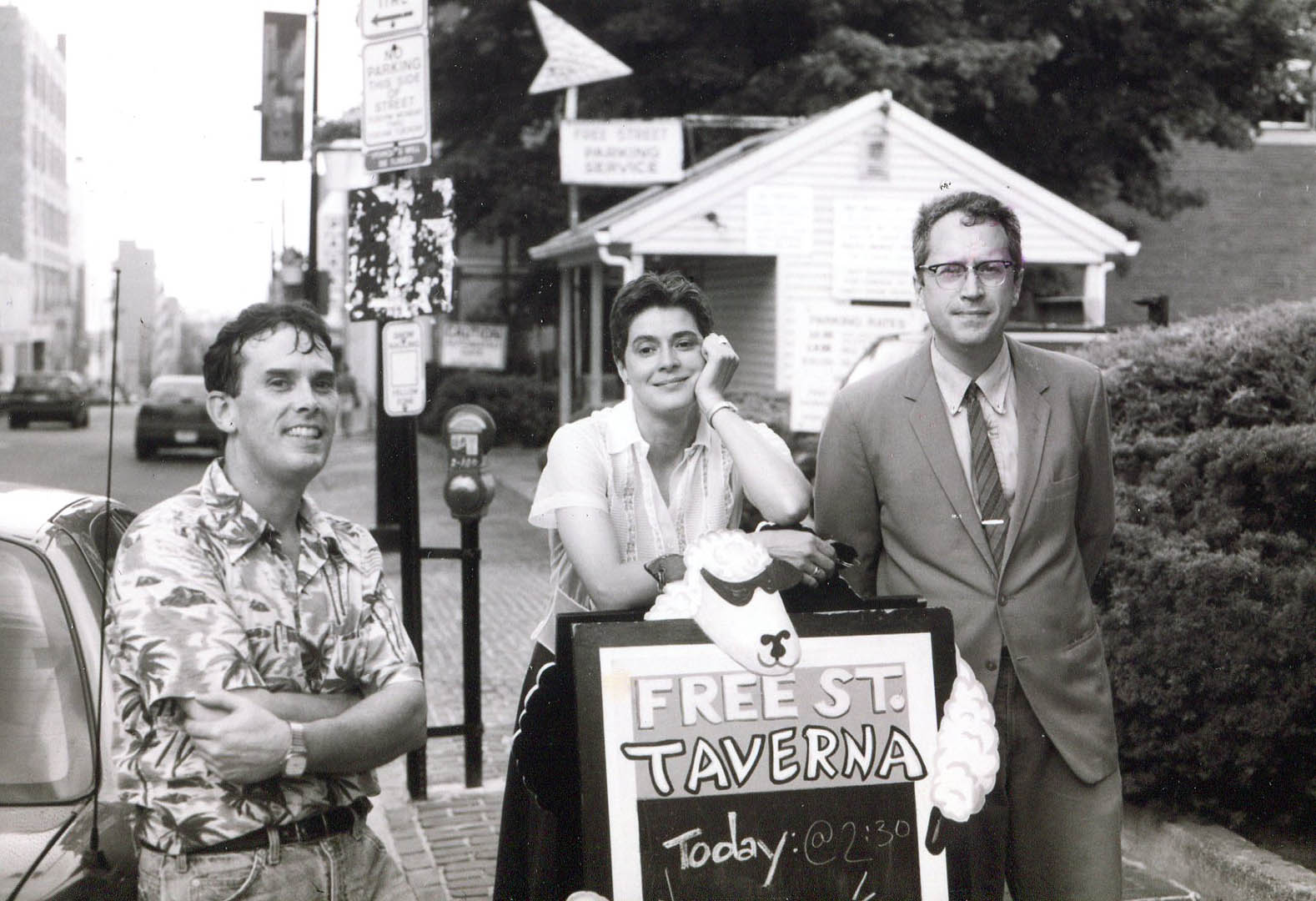 The Howling Turbines on a blistering hot day at the Free Street Taverna, Aug. 1, 1999: from left, drummer Ken Reynolds, bassist Gretchen Schaefer and me -- guitarist and singer Doug Hubley. Photo by Jeff Stanton.