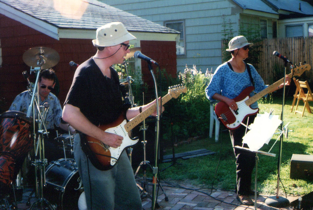 Ken Reynolds, Doug Hubley and Gretchen Schaefer: the Howling Turbines, circa 2001, in a party at the Westbrook home of Rikki and Bob Gallagher. Photo by Jeff Stanton.