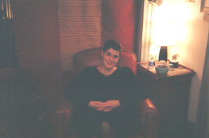Gretchen Schaefer awaiting guests for our 2004 autumn party. Hubley Archives.