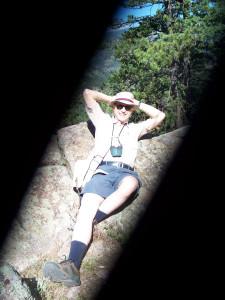 Doug rocks out on the trail. Schaefer Studios.