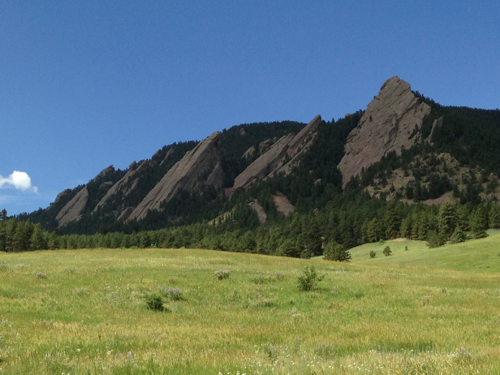 The view we love so well: The Flatirons from the Chautauqua Meadow, June 2013. Hubley Archives.