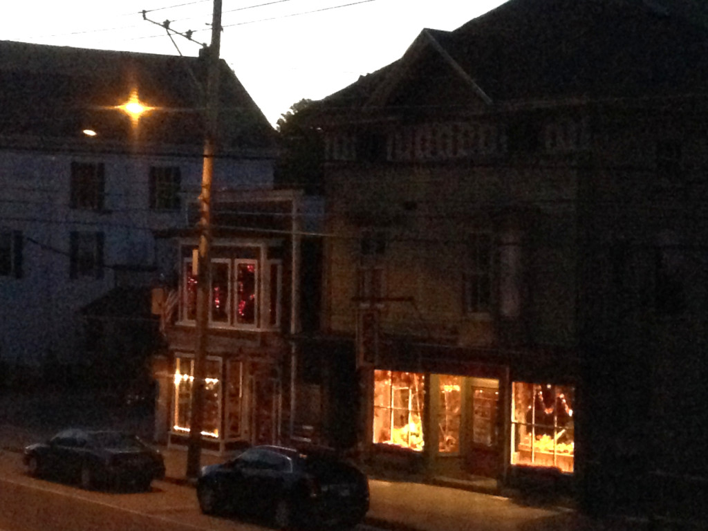 The main drag at dusk, seen from the Cornish Inn, 2014. Hubley Archives.