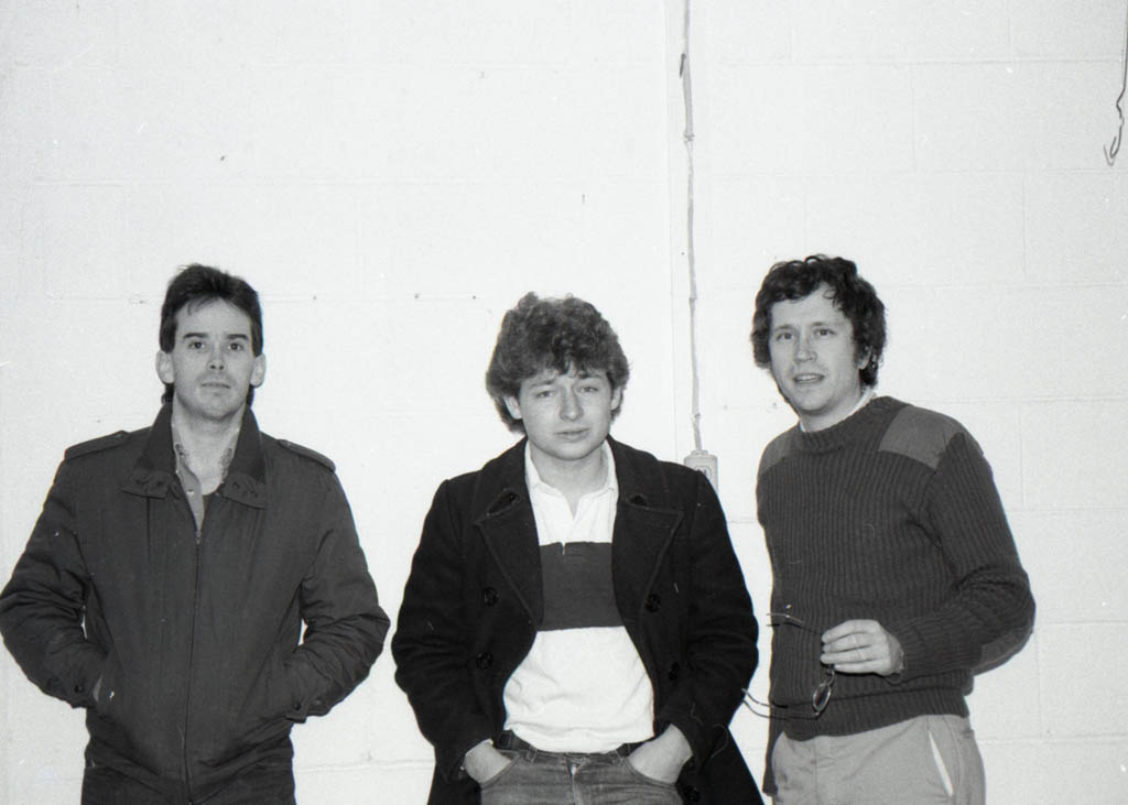 The lineup of the newly defunct 1985 Fashion Jungle: drummer Ken Reynolds, bassist Dan Knight, guitarist Doug Hubley. Hubley Archives.