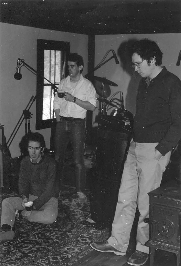 Fashion Jungle bassist Steve Chapman, drummer Ken Reynolds and guitarist Doug Hubley listen to a playback during the January 1984 recording sessions at the Outlook. Gretchen Schaefer photo.