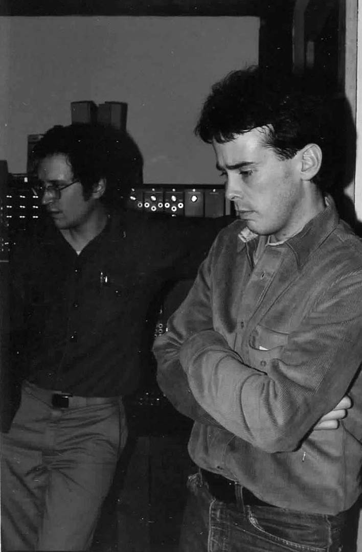 Doug Hubley, left, and Ken Reynolds listen to a playback during the Fashion Jungle\'s January 1984 recording sessions at the Outlook. Gretchen Schaefer photo.