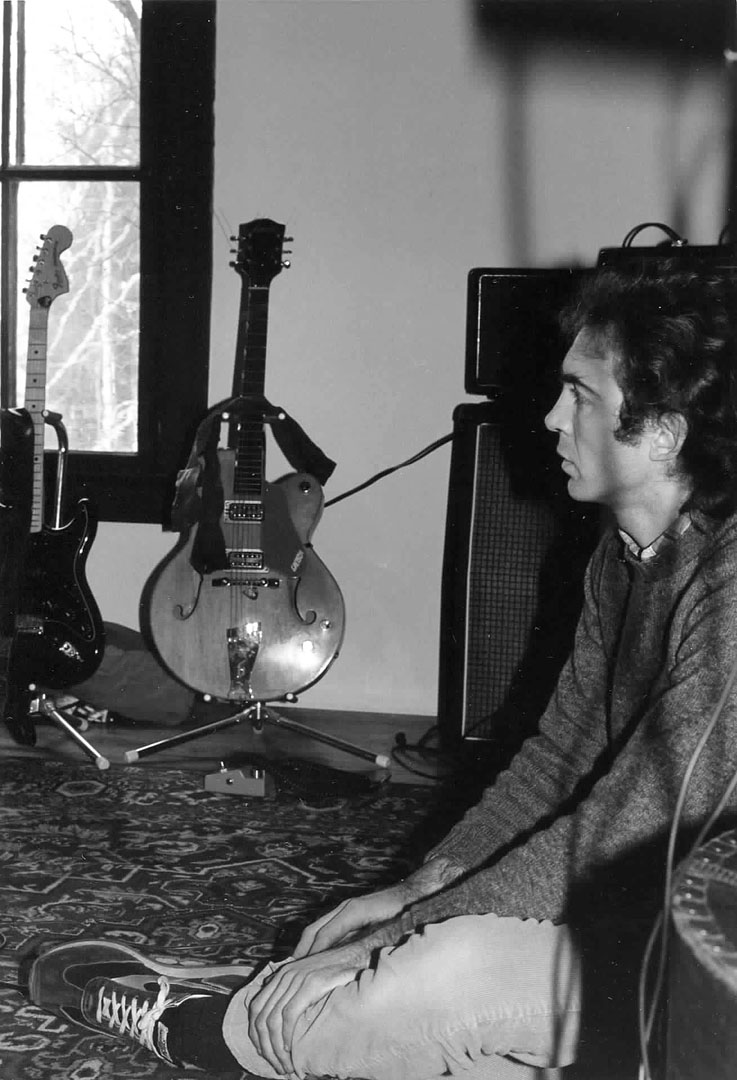 Bassist Steve Chapman listens to a playback during the Fashion Jungle\'s January 1984 recording sessions at the Outlook. Gretchen Schaefer photo.