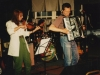 Melinda McCardell,  Jonathan Nichols-Pethick and Doug Hubley on stage during a Cowlix date at Norton\'s, opening for the Moxie Men, in 1992. Photo by Jeff Stanton.