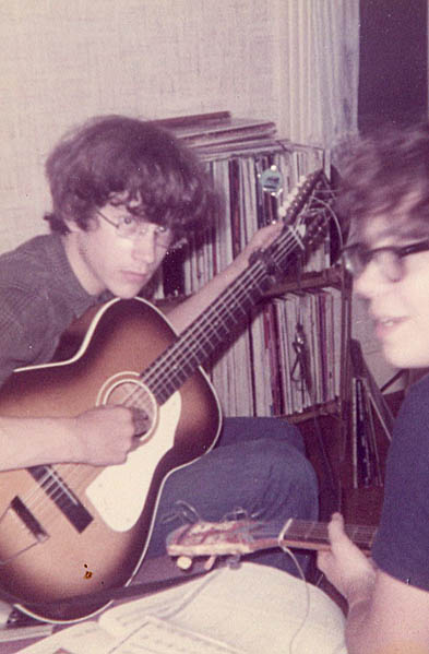 Doug Hubley and the Silvertone 12-string, left, with Tom Hansen and the Carmencita. Hubley Family photo, 1969.
