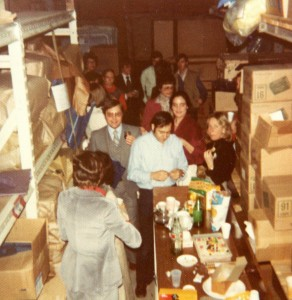 Christmas party in the Jordan Marsh stockroom, circa 1978. Instamatic photo/Hubley Archives.