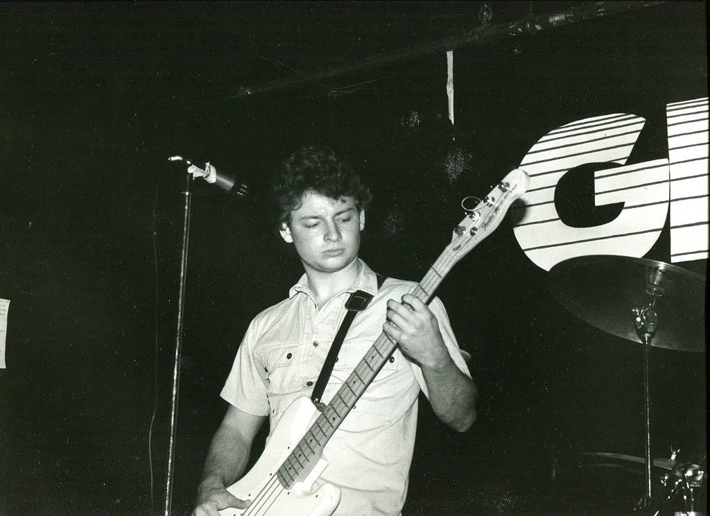 Bassist Dan Knight during a 1985 Fashion Jungle performance at Geno's, Brown Street, Portland. Jeff Stanton photo.