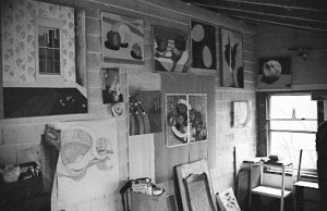 Gretchen's studio at 506 Preble St., South Portland. Digital scan from black & white negative/Hubley Archives.