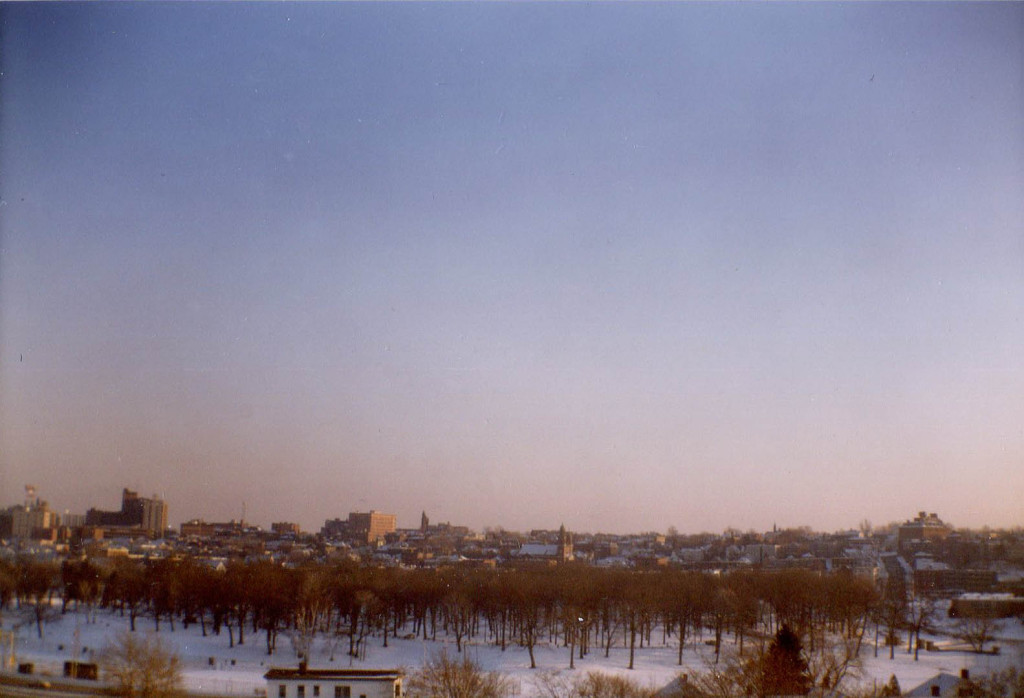 A wintery Portland seen from an upper floor at the University of Southern Maine, 1981. Camera: Kodak Brownie box model