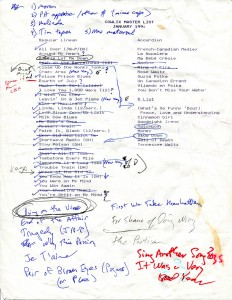 What started out as a master list of all Cowlix repertoire shows the transition from 'Lix to Boarders. (Hubley Archives)