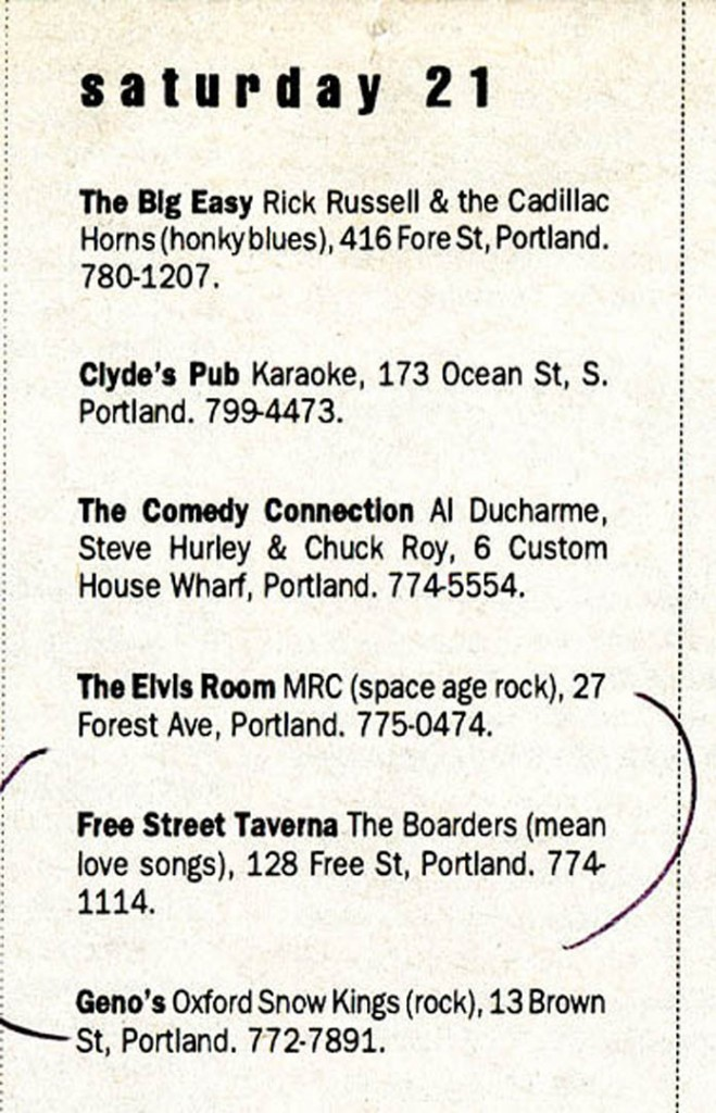 A Casco Bay Weekly listing for a Boarders gig at the Free Street Taverna, October 1995.