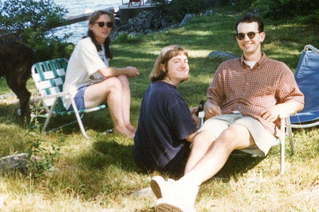 Nancy, at center, and Jonathan Nichols-Pethick at their farewell party in July 1996. At left is Louise Philbrick. Hubley Archives.
