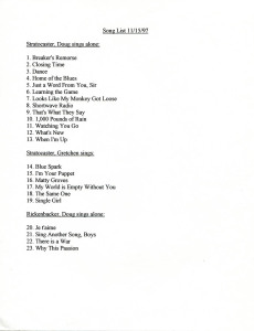 The Howling Turbines repertoire in November 1997. Ten of the 23 songs were new to the Turbines. Hubley Archives.
