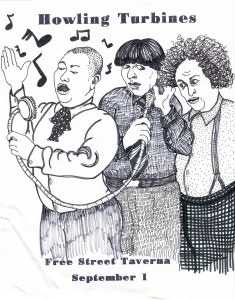 An entry in Gretchen Schaefer's series of Howling Turbines posters based on Three Stooges publicity stills. Hubley Archives.