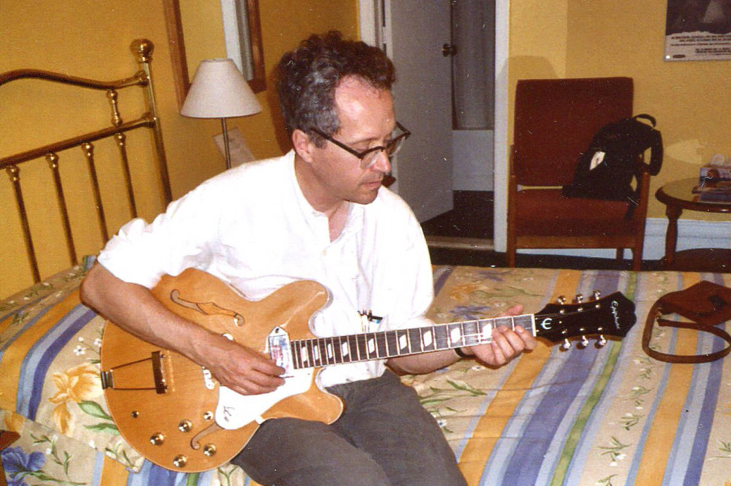 The Epiphone Casino in a hotel in Montreal, where I bought it at a music shop near the Jean Talon market. Gretchen Schaefer photo/Hubley Archives.