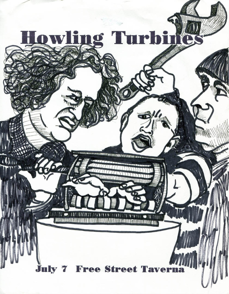 Larry assumes a whole new persona in Gretchen Schaefer's series of Howling Turbines posters based on Three Stooges publicity stills. And here I thought he was the nicest of the bunch. Hubley Archives.