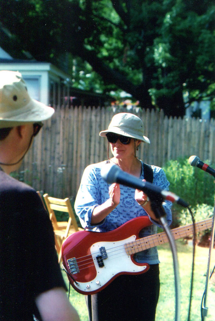 Howling Turbines bassist Gretchen Schaefer, shown circa 2001 in Rikki and Bob Gallagher's backyard in Westbrook during one of the four Gallagher parties we played. Photo by Jeff Stanton.