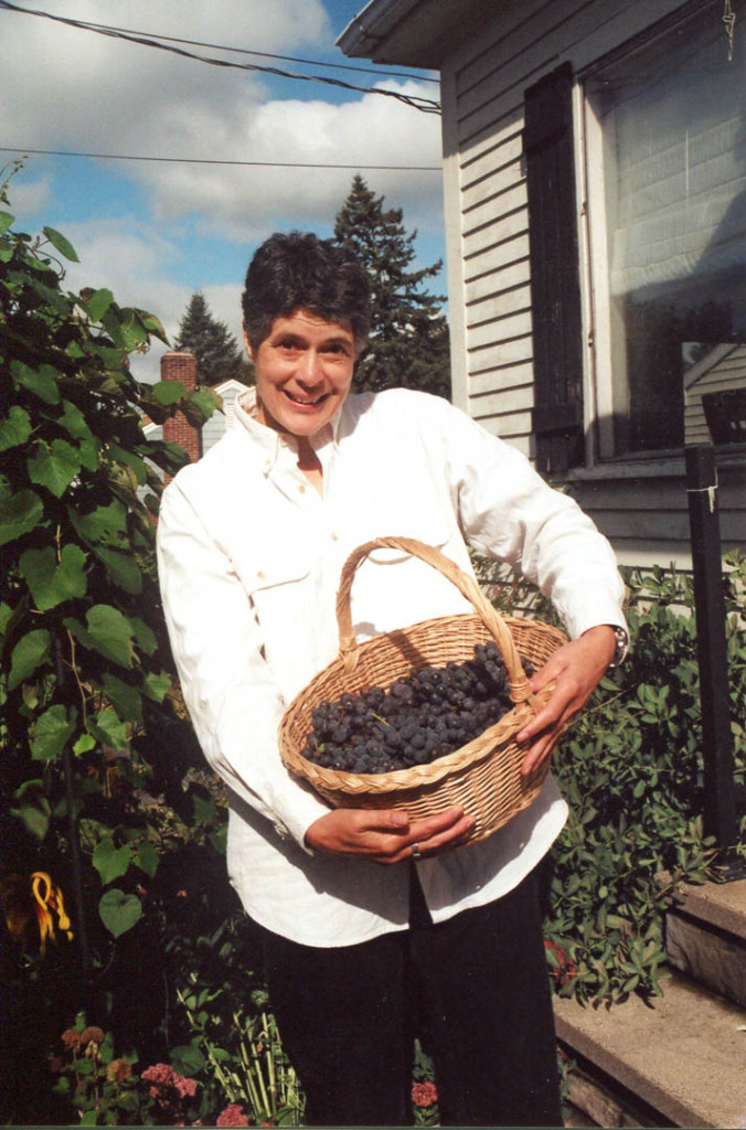 Gretchen with the 2004 grape harvest. Hubley Archives.