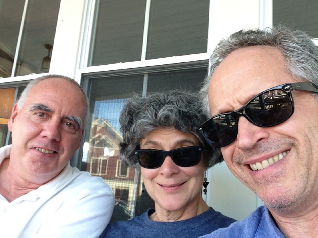 Jeff Stanton, Gretchen Schaefer and Doug Hubley living the dream on the veranda at the Cornish Inn, 2014. Photo by iPhone.