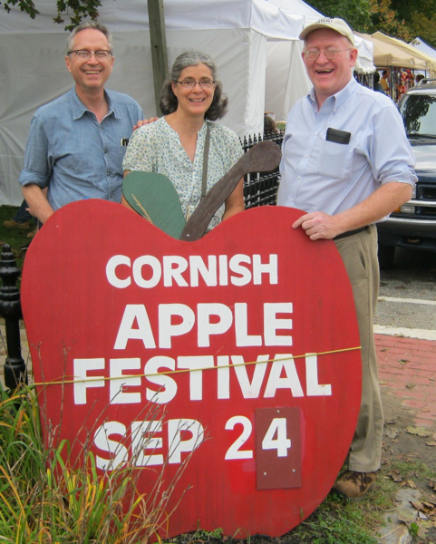 Doug Hubley, Gretchen Schaefer and Willy Thurston at the 2011 Cornish Apple Festival. Jeff Stanton photo.