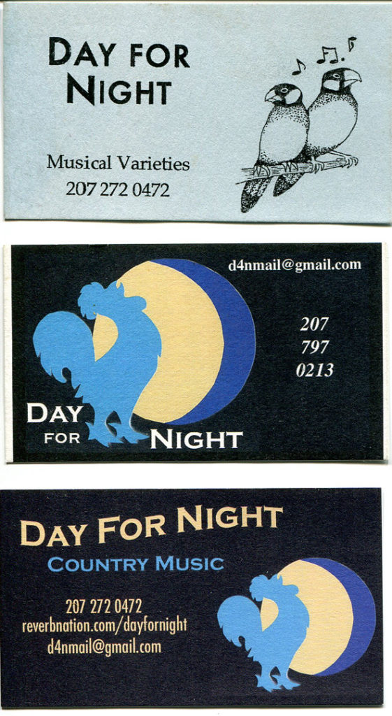 From the top, Day for Night's first, second and current business cards. Hubley Archives.