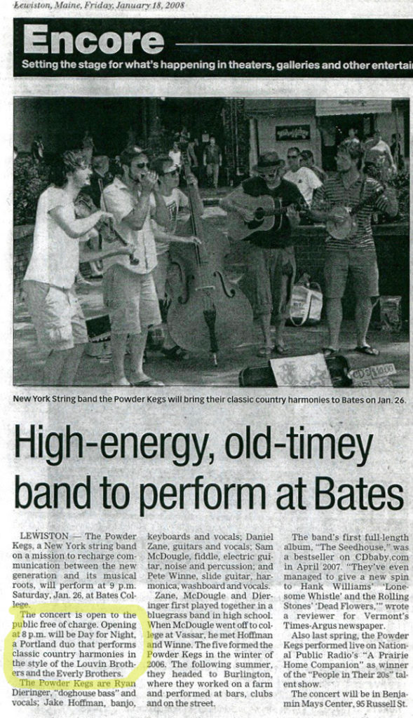 Day for Night rates a whole paragraph in the Sun Journal's advance for the Jan. 2008 Powder Kegs gig. Hubley Archives.